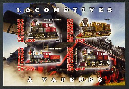 Congo 2013 Early Steam Locomotives imperf sheetlet containing four values unmounted mint