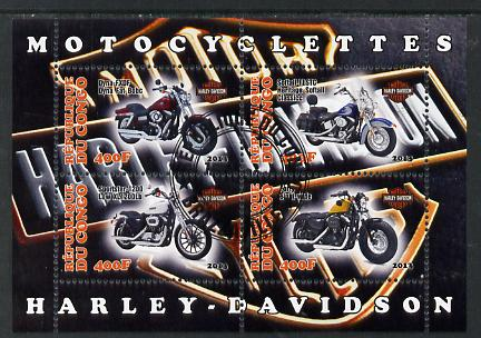 Congo 2013 Harley-Davidson Motorcycles perf sheetlet containing four values fine cto used