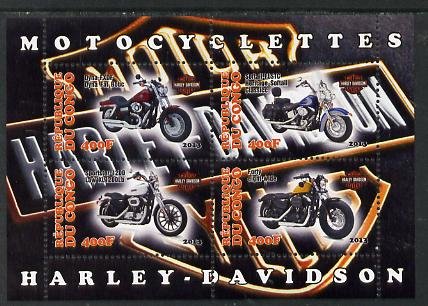 Congo 2013 Harley-Davidson Motorcycles perf sheetlet containing four values unmounted mint