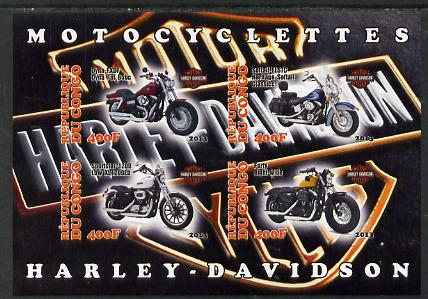 Congo 2013 Harley-Davidson Motorcycles imperf sheetlet containing four values unmounted mint