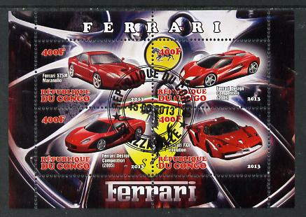 Congo 2013 Ferrari Cars #1 perf sheetlet containing four values fine cto used