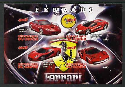 Congo 2013 Ferrari Cars #1 imperf sheetlet containing four values unmounted mint