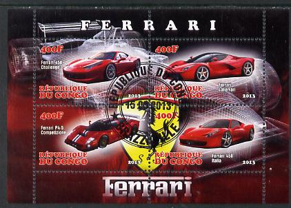 Congo 2013 Ferrari Cars #2 perf sheetlet containing four values fine cto used