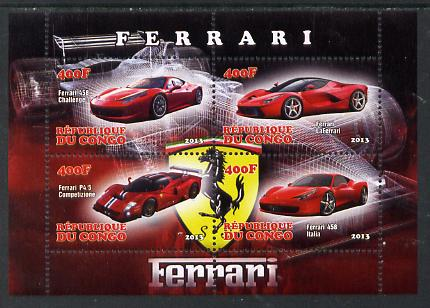 Congo 2013 Ferrari Cars #2 perf sheetlet containing four values unmounted mint