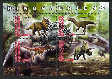 Congo 2013 Dinosaurs #1 perf sheetlet containing four values fine cto used