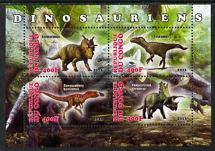 Congo 2013 Dinosaurs #1 perf sheetlet containing four values unmounted mint