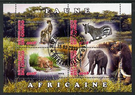 Congo 2013 African Animals #1 perf sheetlet containing four values fine cto used