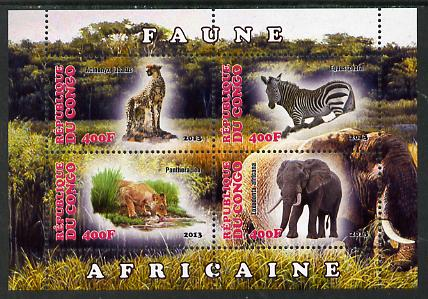 Congo 2013 African Animals #1 perf sheetlet containing four values unmounted mint, stamps on animals, stamps on cats, stamps on lions, stamps on elephants, stamps on zebra