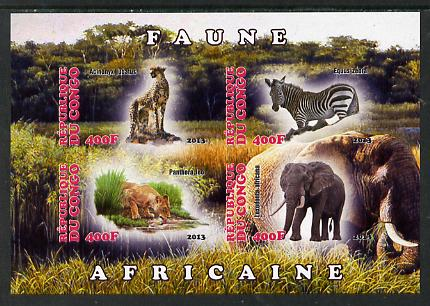 Congo 2013 African Animals #1 imperf sheetlet containing four values unmounted mint