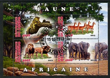 Congo 2013 African Animals #2 perf sheetlet containing four values fine cto used