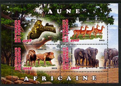 Congo 2013 African Animals #2 perf sheetlet containing four values unmounted mint