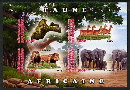 Congo 2013 African Animals #2 imperf sheetlet containing four values unmounted mint