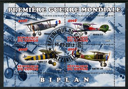 Congo 2013 Bi-Planes of World War I perf sheetlet containing four values fine cto used