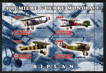 Congo 2013 Bi-Planes of World War I perf sheetlet containing four values unmounted mint