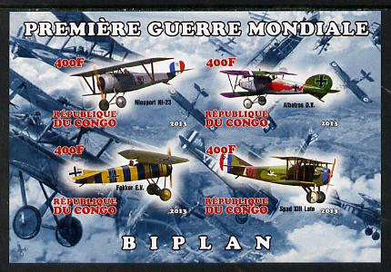 Congo 2013 Bi-Planes of World War I imperf sheetlet containing four values unmounted mint