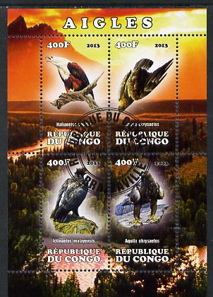 Congo 2013 Birds - Eagles perf sheetlet containing four values fine cto used
