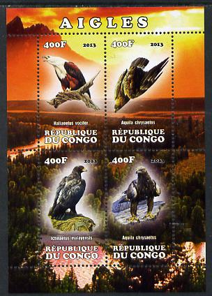 Congo 2013 Birds - Eagles perf sheetlet containing four values unmounted mint