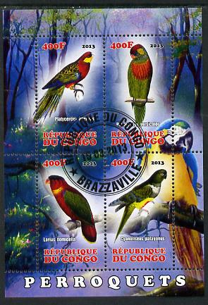 Congo 2013 Birds - Parrots perf sheetlet containing four values fine cto used
