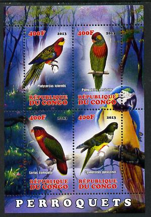 Congo 2013 Birds - Parrots perf sheetlet containing four values unmounted mint