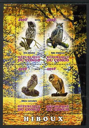 Congo 2013 Birds - Owls perf sheetlet containing four values unmounted mint