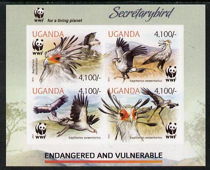 Uganda 2012 WWF - Secretary Bird imperf sheetlet containing 4 values unmounted mint