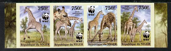 Niger Republic 2013 WWF - Giraffe imperf strip of 4 unmounted mint