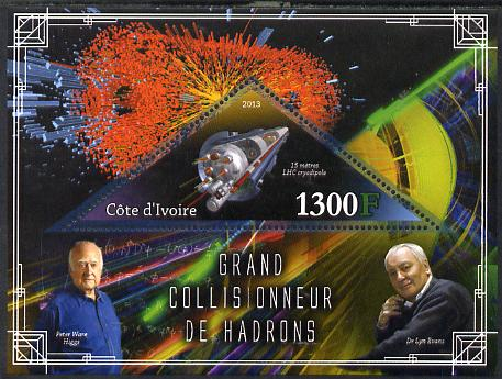 Ivory Coast 2013 Space - Large Hadron Collider perf m/sheet containing triangular value unmounted mint