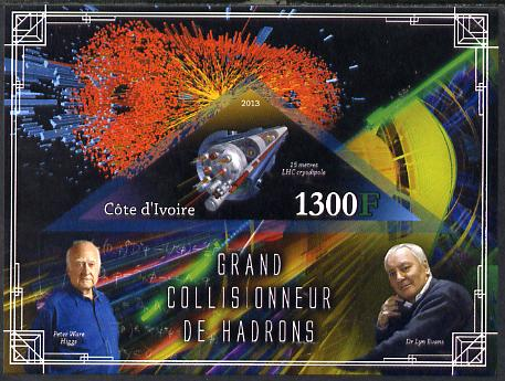 Ivory Coast 2013 Space - Large Hadron Collider imperf m/sheet containing triangular value unmounted mint