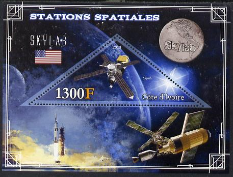 Ivory Coast 2013 Space Stations - Skylab perf m/sheet containing triangular value unmounted mint