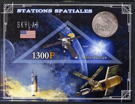 Ivory Coast 2013 Space Stations - Skylab imperf m/sheet containing triangular value unmounted mint