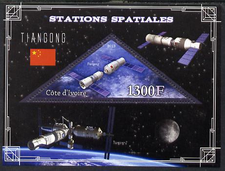 Ivory Coast 2013 Space Stations - Tiangong perf m/sheet containing triangular value unmounted mint
