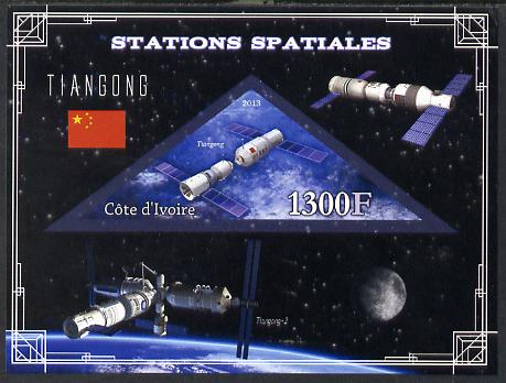 Ivory Coast 2013 Space Stations - Tiangong imperf m/sheet containing triangular value unmounted mint