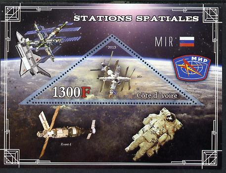 Ivory Coast 2013 Space Stations - MIR perf m/sheet containing triangular value unmounted mint