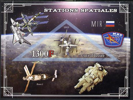Ivory Coast 2013 Space Stations - MIR imperf m/sheet containing triangular value unmounted mint