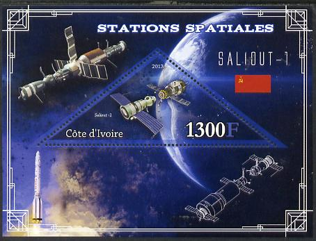 Ivory Coast 2013 Space Stations - Saliout-1 perf m/sheet containing triangular value unmounted mint