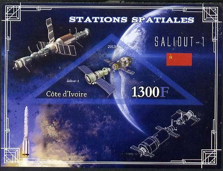 Ivory Coast 2013 Space Stations - Saliout-1 imperf m/sheet containing triangular value unmounted mint