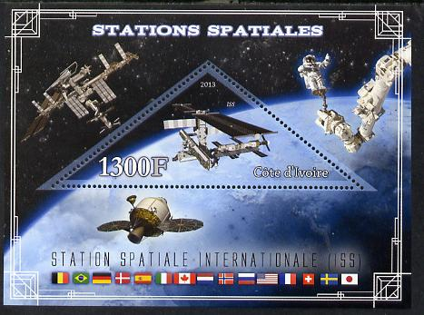 Ivory Coast 2013 Space Stations - International Space Station (ISS) perf m/sheet containing triangular value unmounted mint