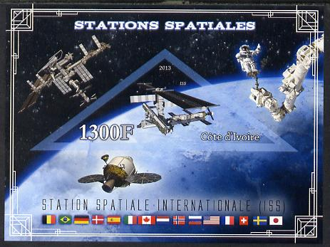 Ivory Coast 2013 Space Stations - International Space Station (ISS) imperf m/sheet containing triangular value unmounted mint
