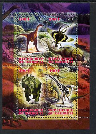 Djibouti 2013 Dinosaurs #1 perf sheetlet containing 4 values unmounted mint