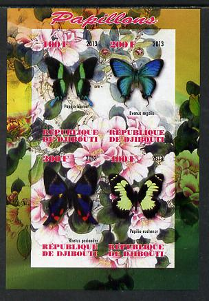 Djibouti 2013 Butterflies #1 imperf sheetlet containing 4 values unmounted mint