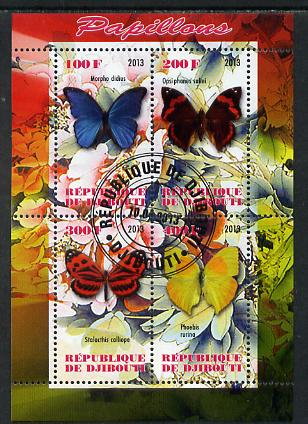 Djibouti 2013 Butterflies #2 perf sheetlet containing 4 values cto used