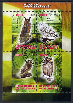 Djibouti 2013 Owls #1 perf sheetlet containing 4 values cto used
