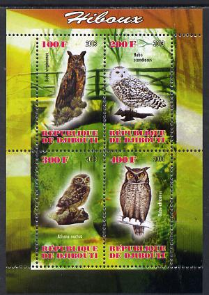 Djibouti 2013 Owls #1 perf sheetlet containing 4 values unmounted mint
