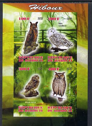 Djibouti 2013 Owls #1 imperf sheetlet containing 4 values unmounted mint