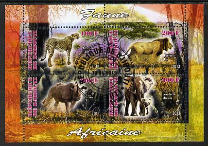 Djibouti 2013 Animals of Africa #1 perf sheetlet containing 4 values cto used