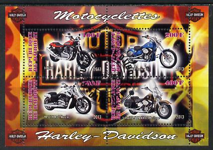 Djibouti 2013 Harley Davidson Motorcycles perf sheetlet containing 4 values cto used