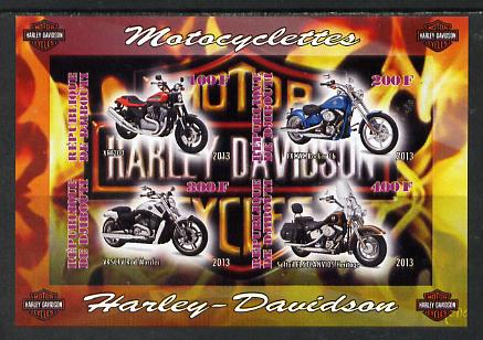 Djibouti 2013 Harley Davidson Motorcycles imperf sheetlet containing 4 values unmounted mint
