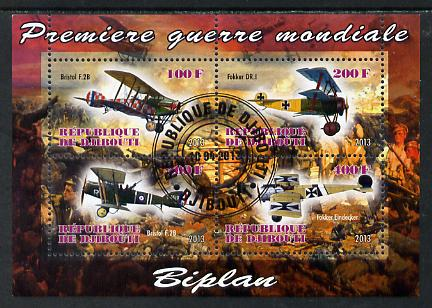 Djibouti 2013 Aircraft of WW1 (Biplanes) perf sheetlet containing 4 values cto used