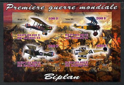 Djibouti 2013 Aircraft of WW1 (Biplanes) imperf sheetlet containing 4 values unmounted mint