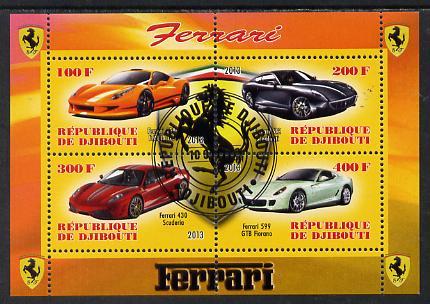 Djibouti 2013 Ferrari Cars #1 perf sheetlet containing 4 values cto used